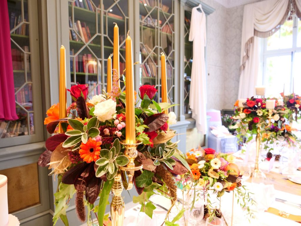 Autumn wedding flowers including bohdi leaves